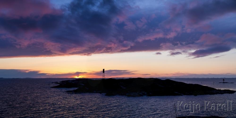 Panoraama auringonlaskusta